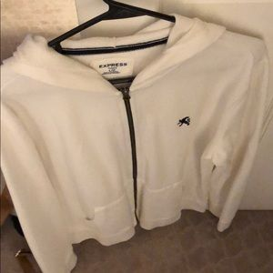 Express men's large white hoody